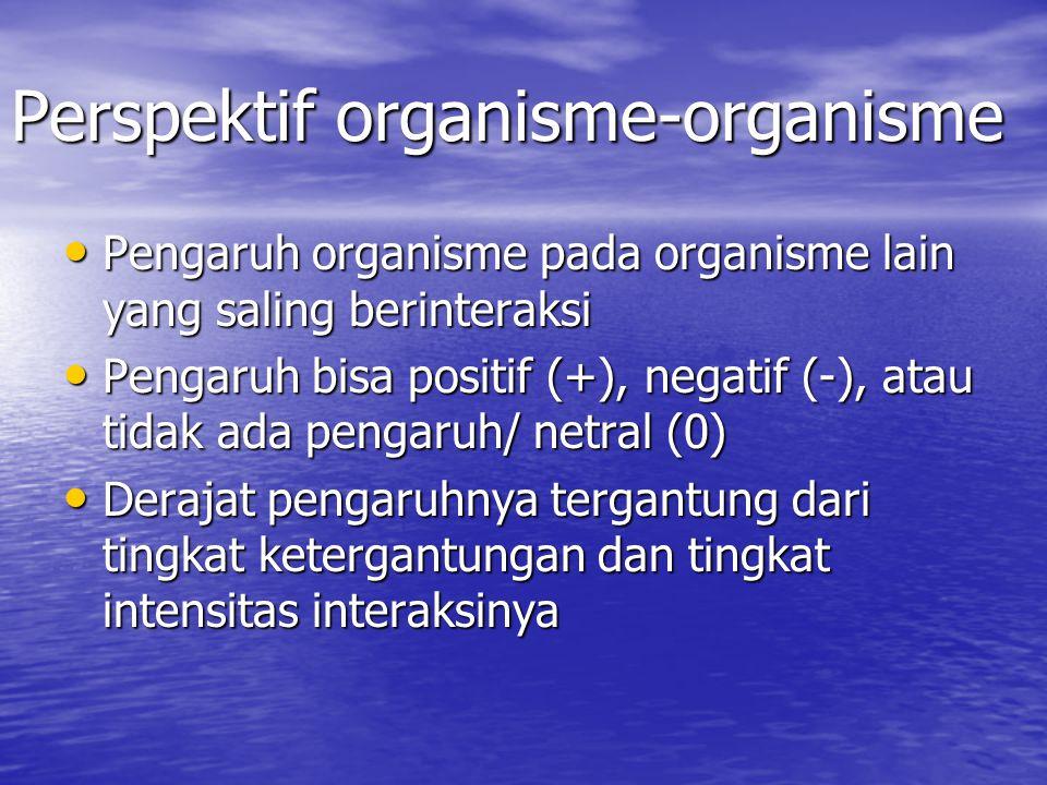 Perspektif organisme-organisme Pengaruh organisme pada organisme lain yang saling berinteraksi Pengaruh organisme pada organisme lain yang saling berinteraksi Pengaruh bisa positif (+), negatif (-), atau tidak ada pengaruh/ netral (0) Pengaruh bisa positif (+), negatif (-), atau tidak ada pengaruh/ netral (0) Derajat pengaruhnya tergantung dari tingkat ketergantungan dan tingkat intensitas interaksinya Derajat pengaruhnya tergantung dari tingkat ketergantungan dan tingkat intensitas interaksinya