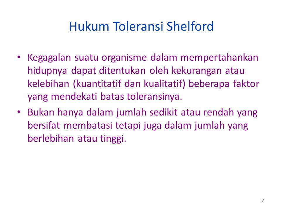 Hukum Toleransi Shelford Kegagalan suatu organisme dalam mempertahankan hidupnya dapat ditentukan oleh kekurangan atau kelebihan (kuantitatif dan kual