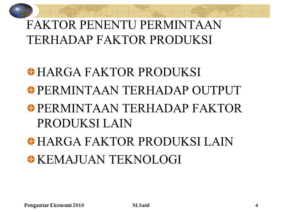 Pengantar Ekonomi 2010M.Said4 FAKTOR PENENTU PERMINTAAN TERHADAP FAKTOR PRODUKSI HARGA FAKTOR PRODUKSI PERMINTAAN TERHADAP OUTPUT PERMINTAAN TERHADAP