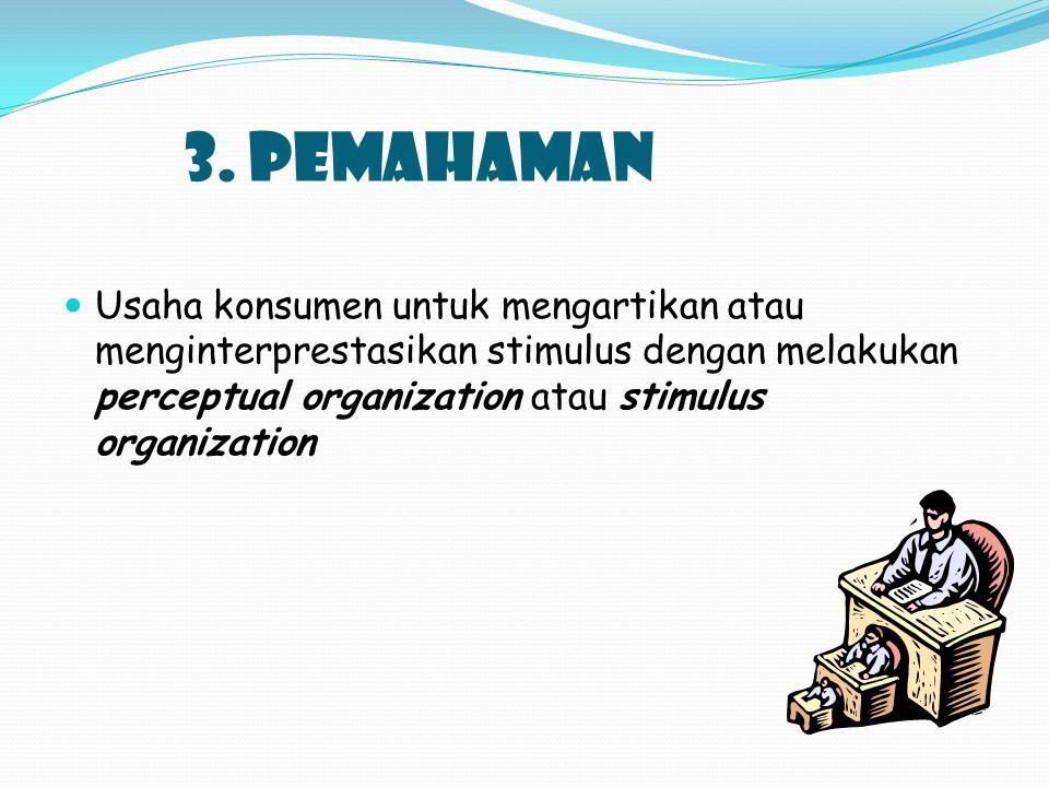 3. PEMAHAMAN Usaha konsumen untuk mengartikan atau menginterprestasikan stimulus dengan melakukan perceptual organization atau stimulus organization