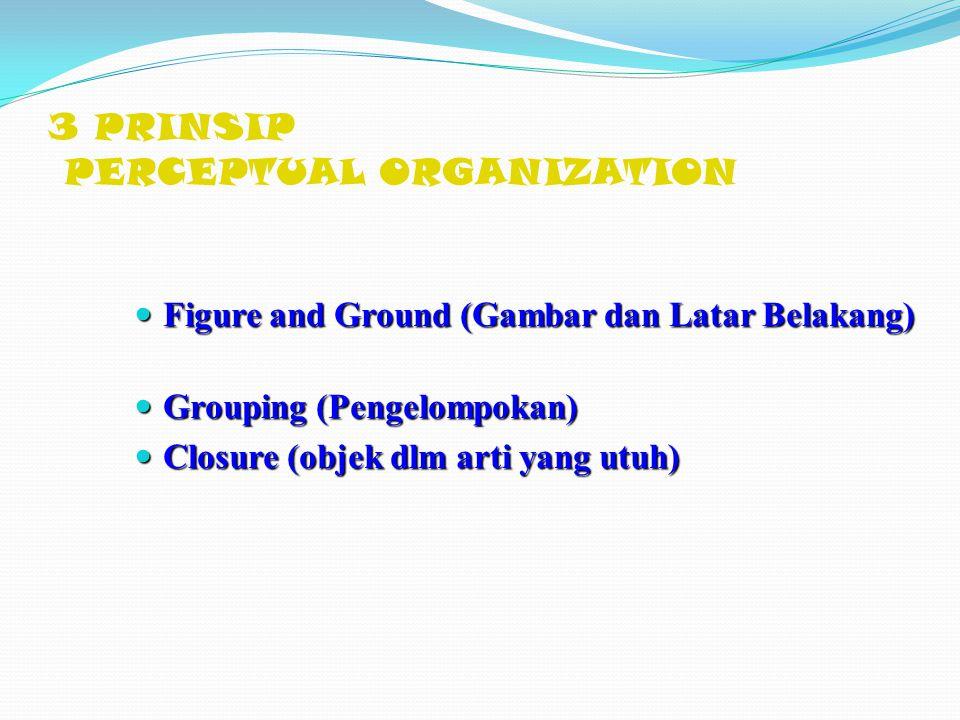 3 PRINSIP PERCEPTUAL ORGANIZATION Figure and Ground (Gambar dan Latar Belakang) Figure and Ground (Gambar dan Latar Belakang) Grouping (Pengelompokan)