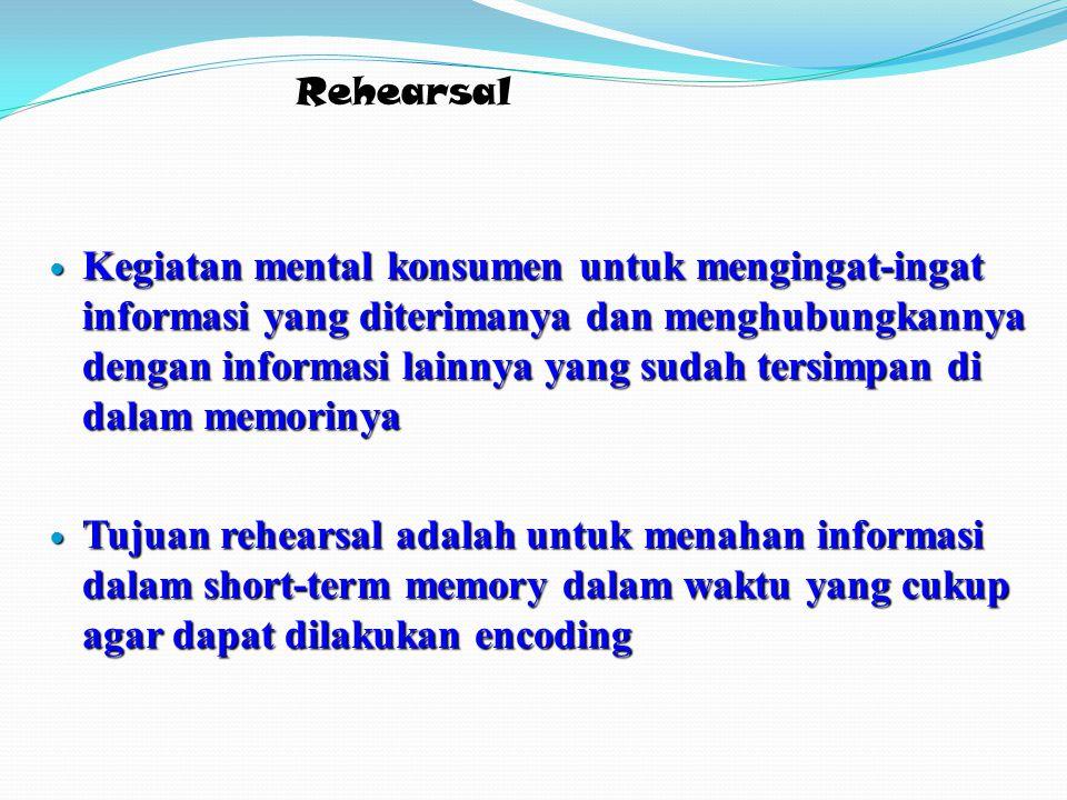 Rehearsal Kegiatan mental konsumen untuk mengingat-ingat informasi yang diterimanya dan menghubungkannya dengan informasi lainnya yang sudah tersimpan