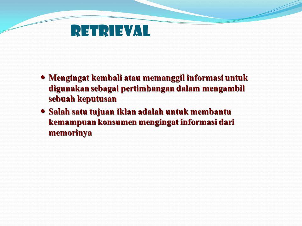 Retrieval Mengingat kembali atau memanggil informasi untuk digunakan sebagai pertimbangan dalam mengambil sebuah keputusan Mengingat kembali atau mema
