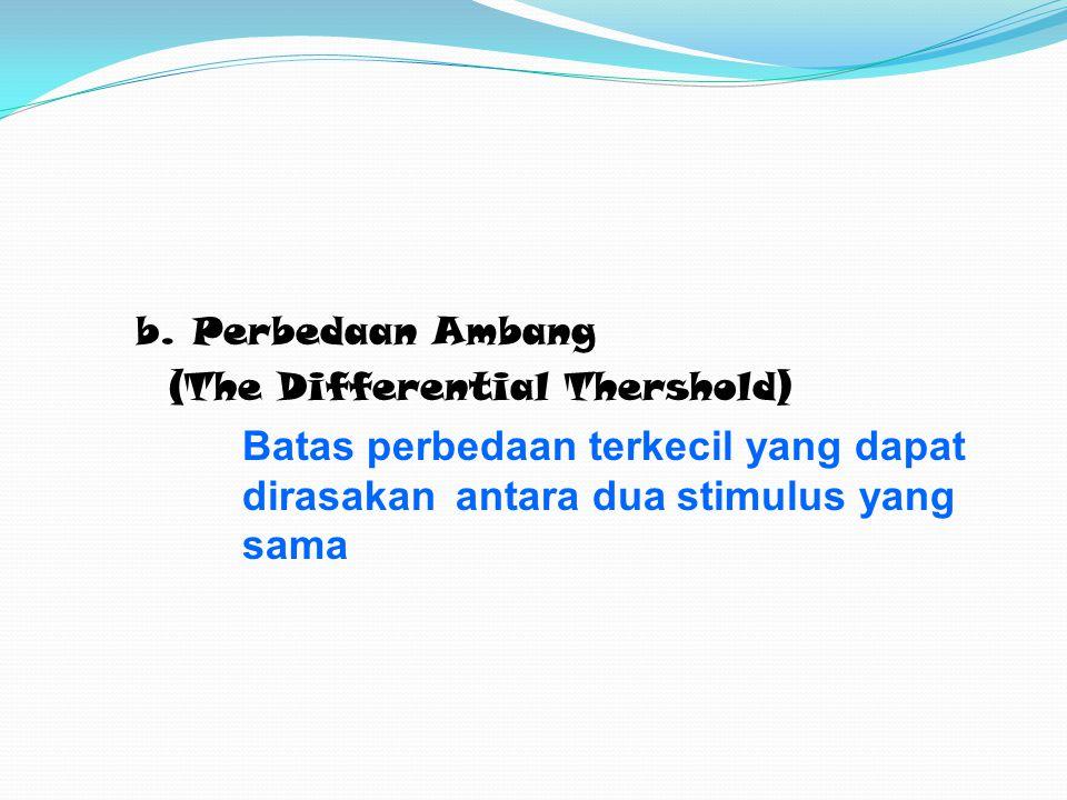 b. Perbedaan Ambang (The Differential Thershold) Batas perbedaan terkecil yang dapat dirasakan antara dua stimulus yang sama