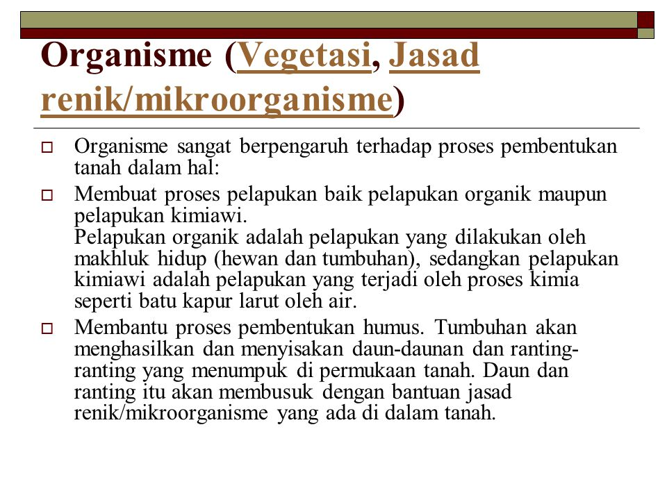 Organisme (2)  Pengaruh jenis vegetasi terhadap sifat-sifat tanah sangat nyata terjadi di daerah beriklim sedang seperti di Eropa dan Amerika.