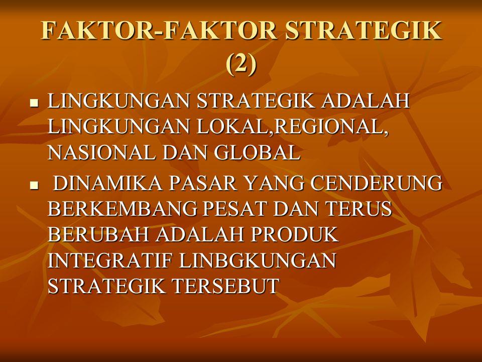 FAKTOR-FAKTOR STRATEGIK (2) LINGKUNGAN STRATEGIK ADALAH LINGKUNGAN LOKAL,REGIONAL, NASIONAL DAN GLOBAL LINGKUNGAN STRATEGIK ADALAH LINGKUNGAN LOKAL,RE