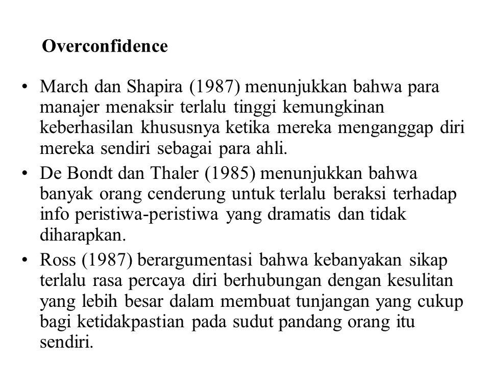 Overconfidence March dan Shapira (1987) menunjukkan bahwa para manajer menaksir terlalu tinggi kemungkinan keberhasilan khususnya ketika mereka mengan