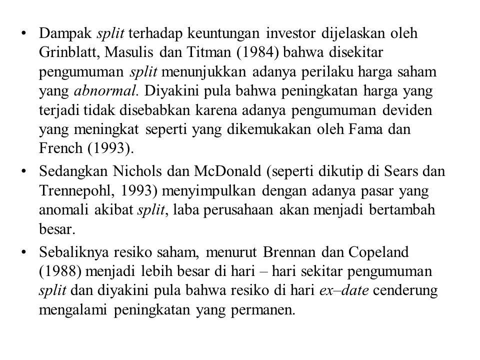 Dampak split terhadap keuntungan investor dijelaskan oleh Grinblatt, Masulis dan Titman (1984) bahwa disekitar pengumuman split menunjukkan adanya per