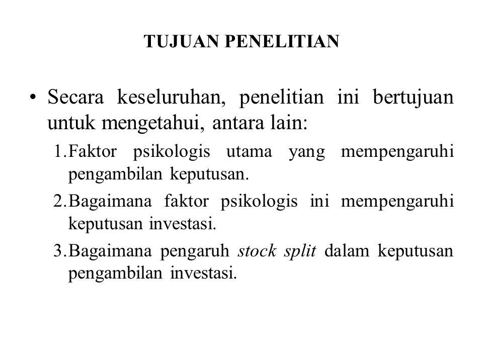 KONTRIBUSI PENELITIAN Bagi praktisi: –Informasi yang berkaitan dengan pembentukan harga saham, dalam hal ini stock split diperlukan investor dalam mengambil keputusan untuk menjual ataupun membeli.