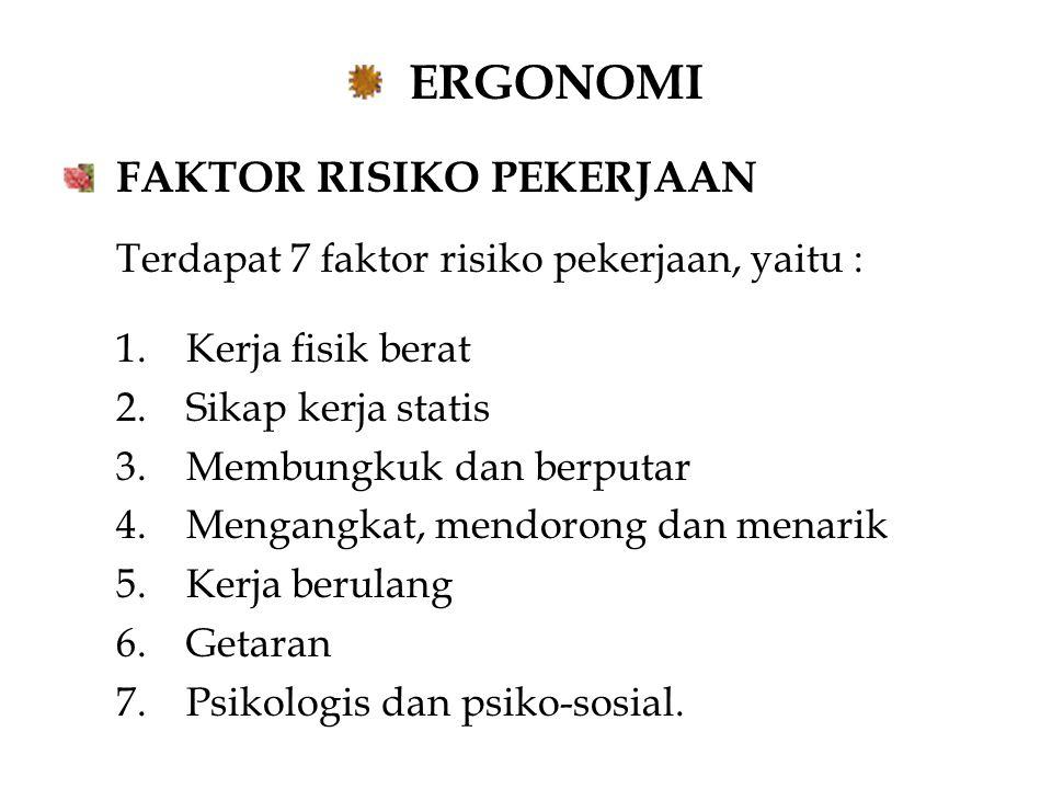 ERGONOMI FAKTOR RISIKO PEKERJAAN Terdapat 7 faktor risiko pekerjaan, yaitu : 1.Kerja fisik berat 2.Sikap kerja statis 3.Membungkuk dan berputar 4.Mengangkat, mendorong dan menarik 5.Kerja berulang 6.Getaran 7.Psikologis dan psiko-sosial.