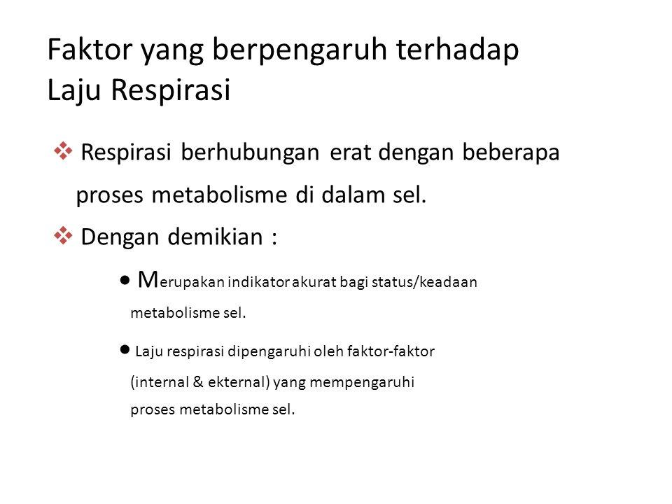 Faktor yang berpengaruh terhadap Laju Respirasi  Respirasi berhubungan erat dengan beberapa proses metabolisme di dalam sel.  Dengan demikian :  M