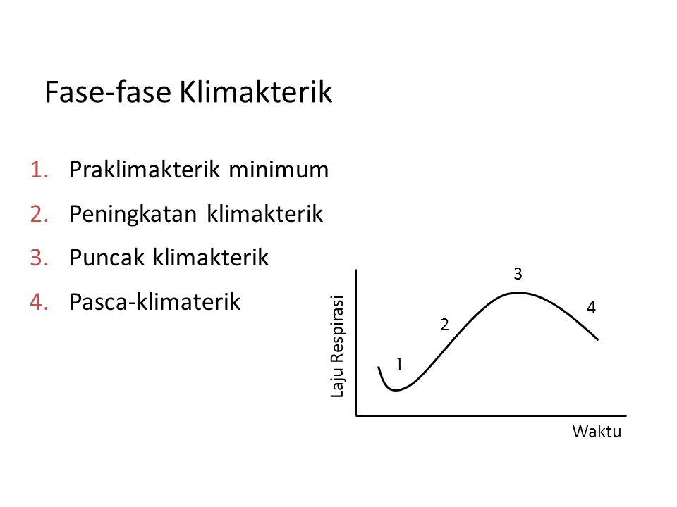 Fase-fase Klimakterik 1. Praklimakterik minimum 2. Peningkatan klimakterik 3. Puncak klimakterik 4. Pasca-klimaterik 1 2 3 4 Waktu Laju Respirasi