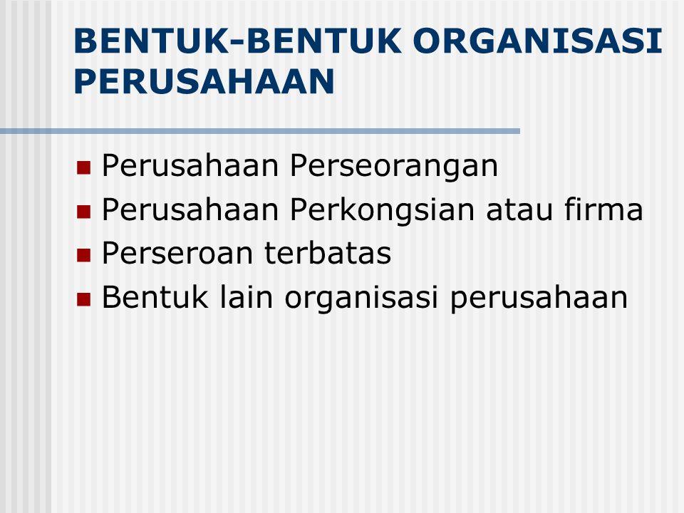 BENTUK-BENTUK ORGANISASI PERUSAHAAN Perusahaan Perseorangan Perusahaan Perkongsian atau firma Perseroan terbatas Bentuk lain organisasi perusahaan