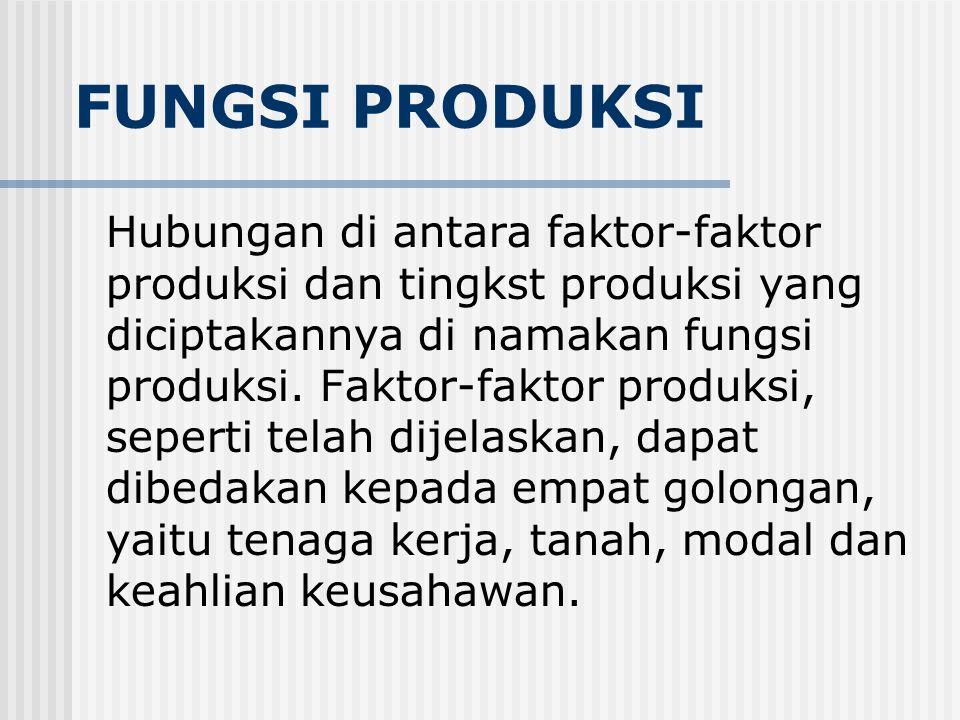 FUNGSI PRODUKSI Hubungan di antara faktor-faktor produksi dan tingkst produksi yang diciptakannya di namakan fungsi produksi.