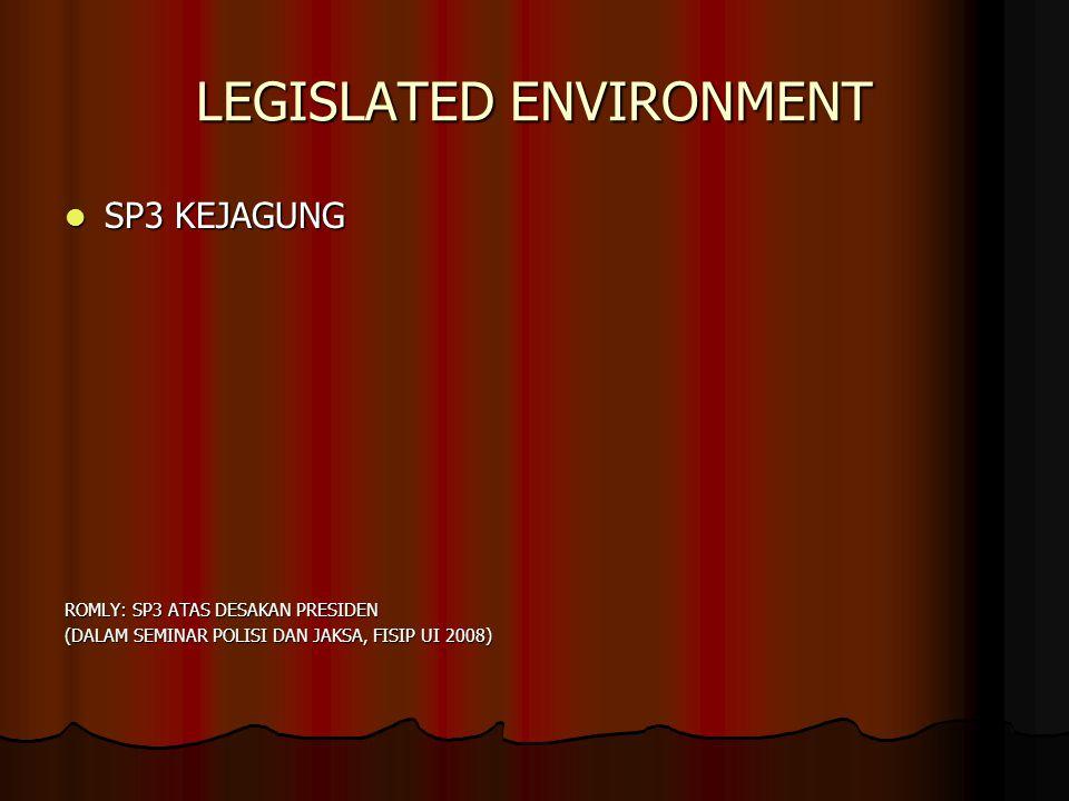 LEGISLATED ENVIRONMENT SP3 KEJAGUNG SP3 KEJAGUNG ROMLY: SP3 ATAS DESAKAN PRESIDEN (DALAM SEMINAR POLISI DAN JAKSA, FISIP UI 2008)