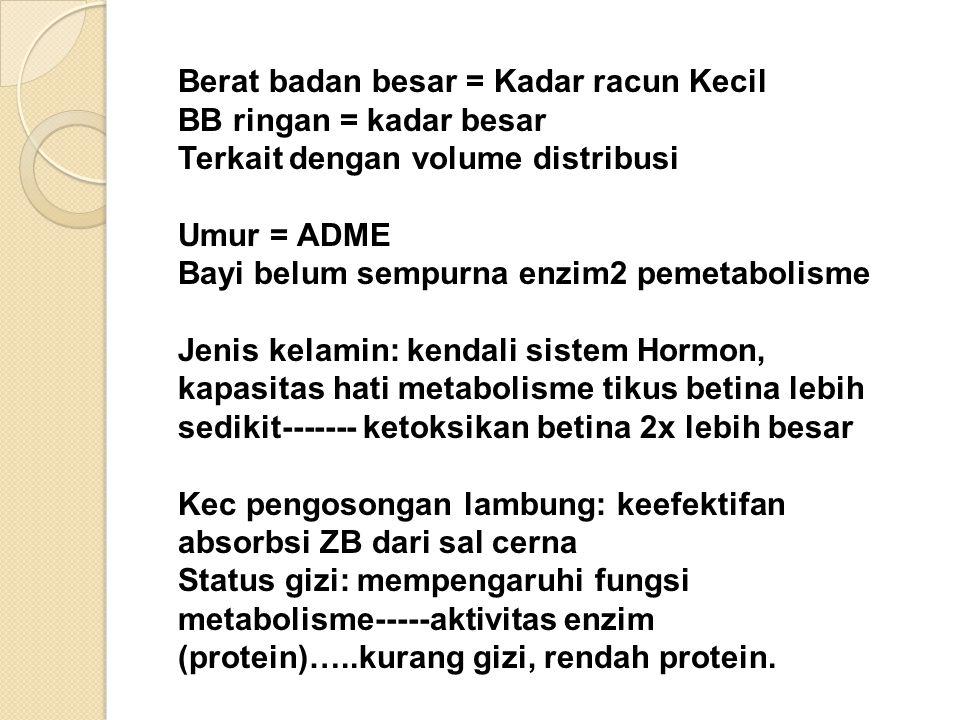 Berat badan besar = Kadar racun Kecil BB ringan = kadar besar Terkait dengan volume distribusi Umur = ADME Bayi belum sempurna enzim2 pemetabolisme Je