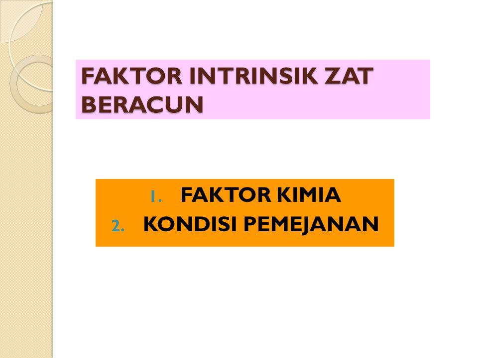 FAKTOR INTRINSIK ZAT BERACUN 1. FAKTOR KIMIA 2. KONDISI PEMEJANAN