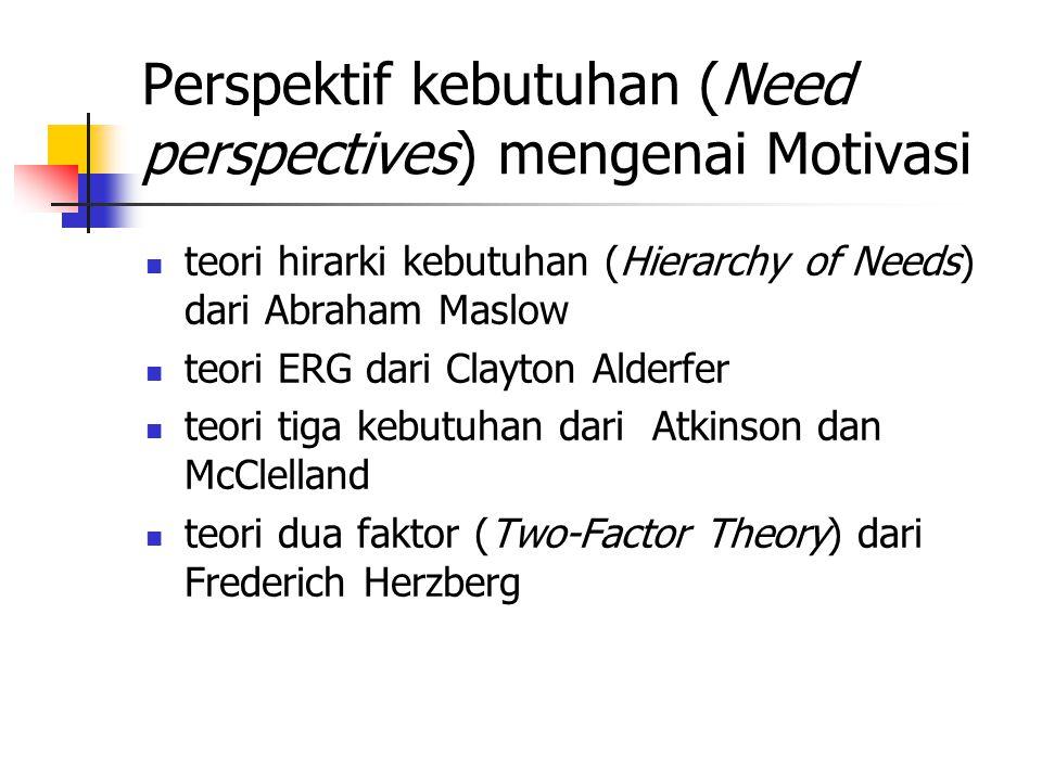 Perspektif kebutuhan (Need perspectives) mengenai Motivasi teori hirarki kebutuhan (Hierarchy of Needs) dari Abraham Maslow teori ERG dari Clayton Alderfer teori tiga kebutuhan dari Atkinson dan McClelland teori dua faktor (Two-Factor Theory) dari Frederich Herzberg