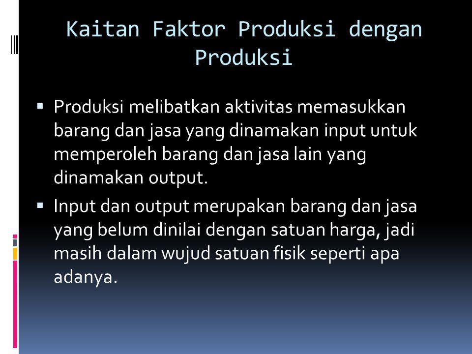 Kaitan Faktor Produksi dengan Produksi  Produksi melibatkan aktivitas memasukkan barang dan jasa yang dinamakan input untuk memperoleh barang dan jas