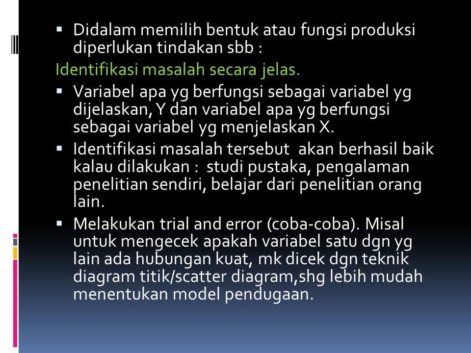  Didalam memilih bentuk atau fungsi produksi diperlukan tindakan sbb : Identifikasi masalah secara jelas.  Variabel apa yg berfungsi sebagai variabe