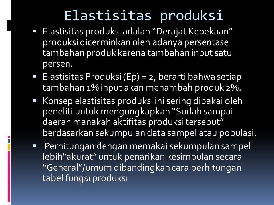 """Elastisitas produksi  Elastisitas produksi adalah """"Derajat Kepekaan"""" produksi dicerminkan oleh adanya persentase tambahan produk karena tambahan inpu"""