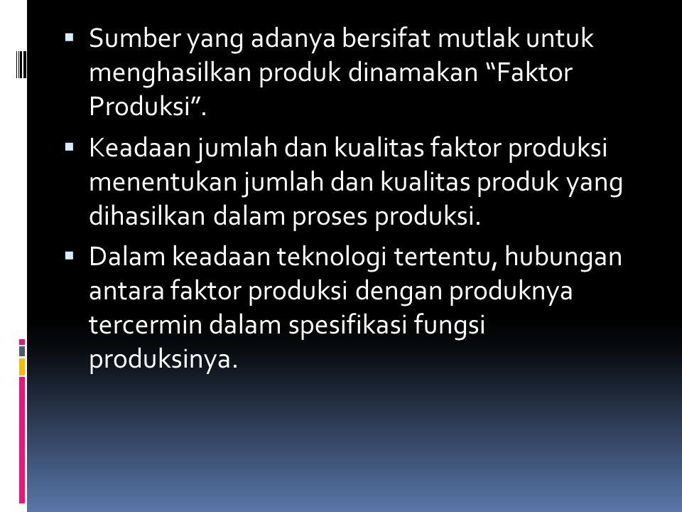""" Sumber yang adanya bersifat mutlak untuk menghasilkan produk dinamakan """"Faktor Produksi"""".  Keadaan jumlah dan kualitas faktor produksi menentukan j"""