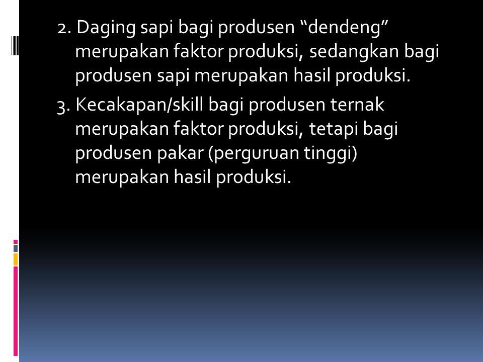 "2. Daging sapi bagi produsen ""dendeng"" merupakan faktor produksi, sedangkan bagi produsen sapi merupakan hasil produksi. 3. Kecakapan/skill bagi produ"