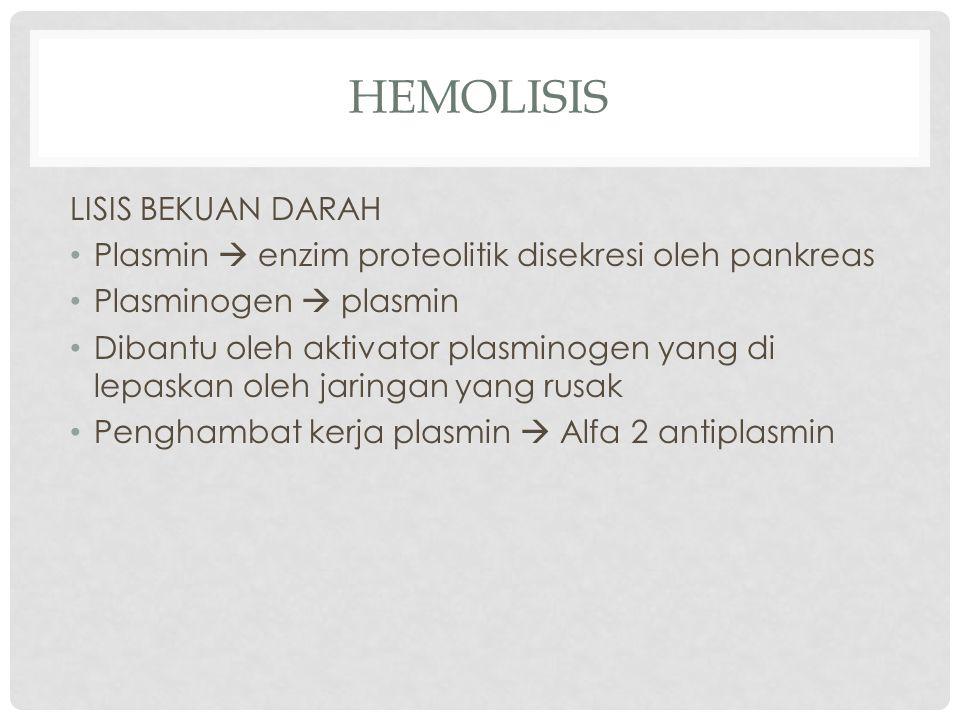 HEMOLISIS LISIS BEKUAN DARAH Plasmin  enzim proteolitik disekresi oleh pankreas Plasminogen  plasmin Dibantu oleh aktivator plasminogen yang di lepaskan oleh jaringan yang rusak Penghambat kerja plasmin  Alfa 2 antiplasmin