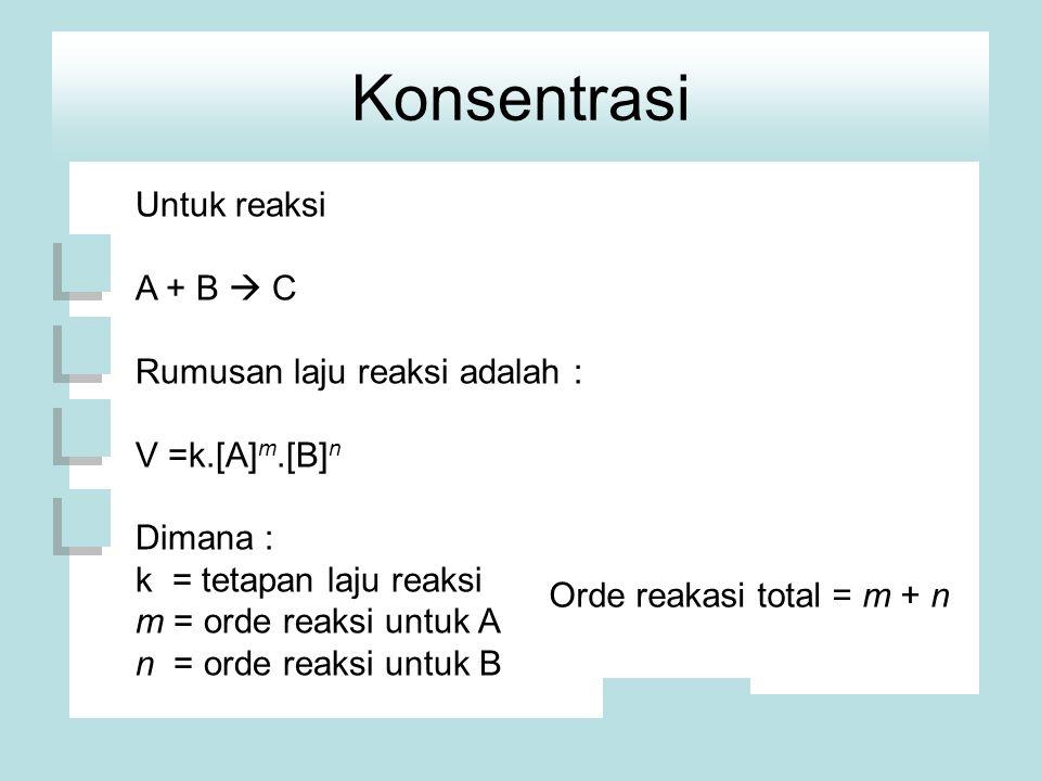 Konsentrasi Untuk reaksi A + B  C Rumusan laju reaksi adalah : V =k.[A] m.[B] n Dimana : k = tetapan laju reaksi m = orde reaksi untuk A n = orde reaksi untuk B Orde reakasi total = m + n