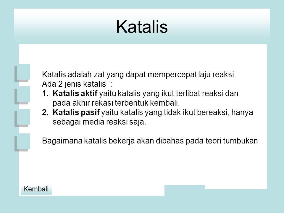 Katalis Katalis adalah zat yang dapat mempercepat laju reaksi.