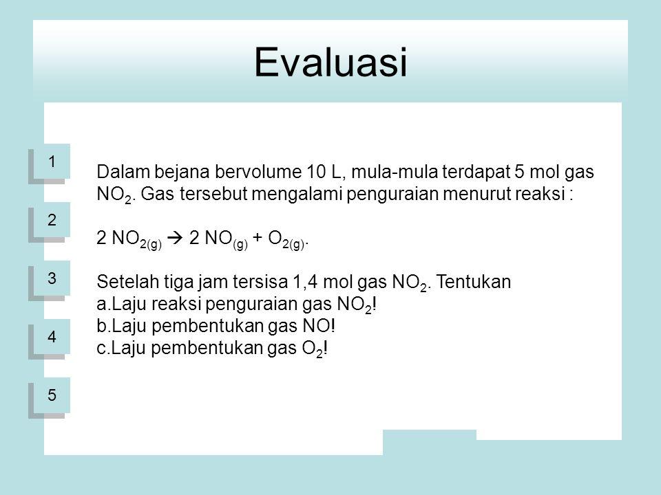 1 1 2 2 3 3 4 4 Evaluasi 5 5 Dalam bejana bervolume 10 L, mula-mula terdapat 5 mol gas NO 2.