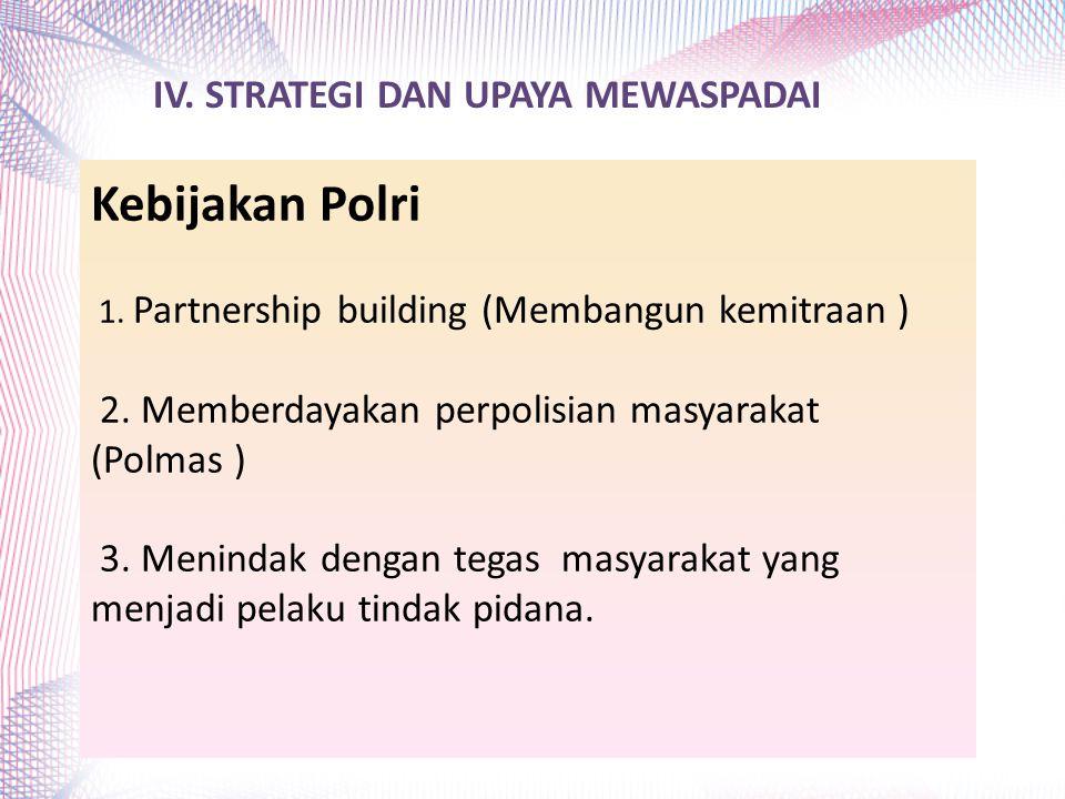 Kebijakan Polri 1. Partnership building (Membangun kemitraan ) 2. Memberdayakan perpolisian masyarakat (Polmas ) 3. Menindak dengan tegas masyarakat y