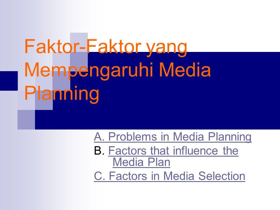 Faktor-Faktor yang Mempengaruhi Media Planning A. Problems in Media Planning B. Factors that influence the Media PlanFactors that influence the Media