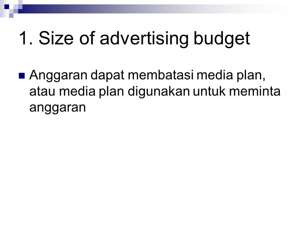 1. Size of advertising budget Anggaran dapat membatasi media plan, atau media plan digunakan untuk meminta anggaran