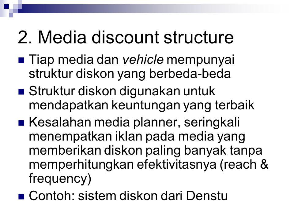 2. Media discount structure Tiap media dan vehicle mempunyai struktur diskon yang berbeda-beda Struktur diskon digunakan untuk mendapatkan keuntungan