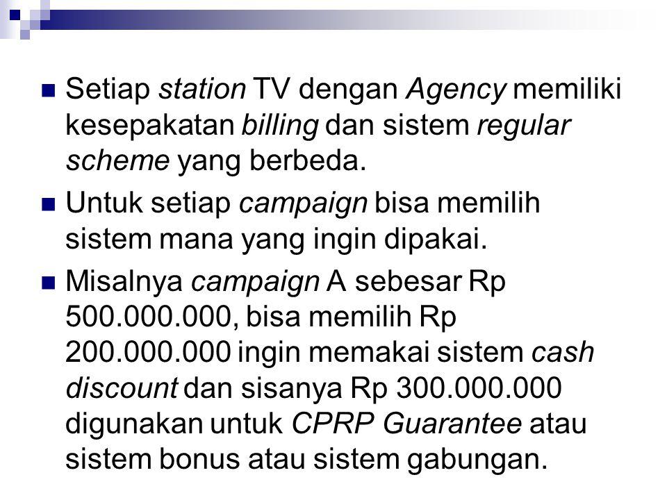 Setiap station TV dengan Agency memiliki kesepakatan billing dan sistem regular scheme yang berbeda. Untuk setiap campaign bisa memilih sistem mana ya