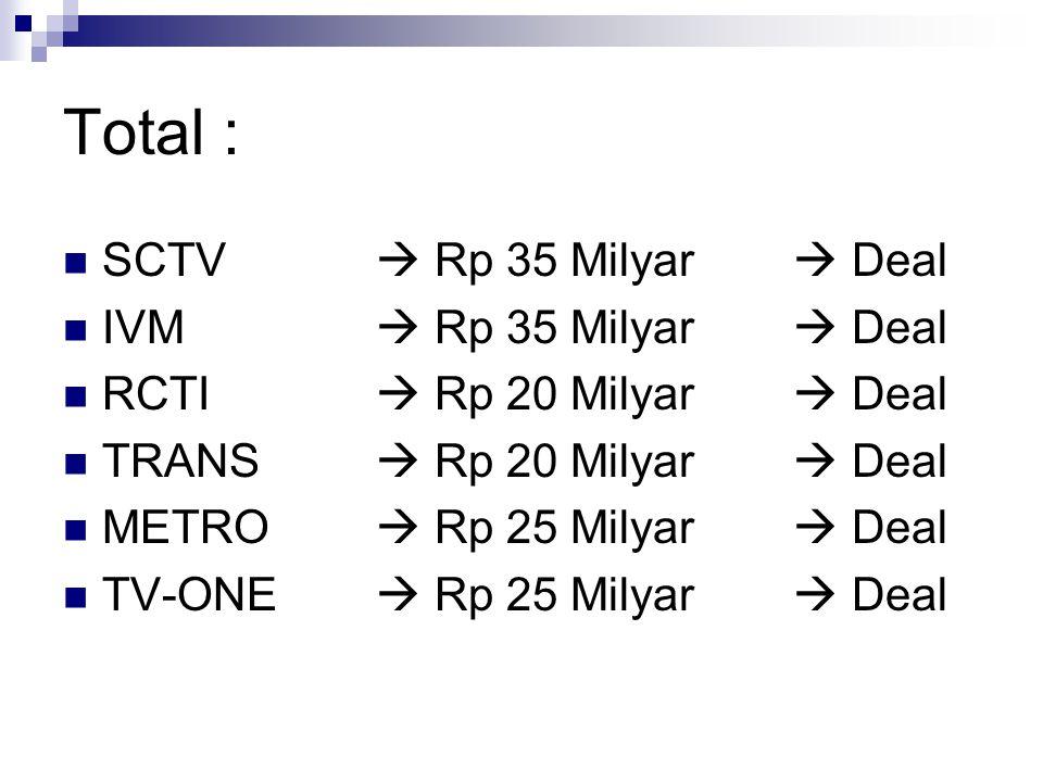 Total : SCTV  Rp 35 Milyar  Deal IVM  Rp 35 Milyar  Deal RCTI  Rp 20 Milyar  Deal TRANS  Rp 20 Milyar  Deal METRO  Rp 25 Milyar  Deal TV-ONE  Rp 25 Milyar  Deal