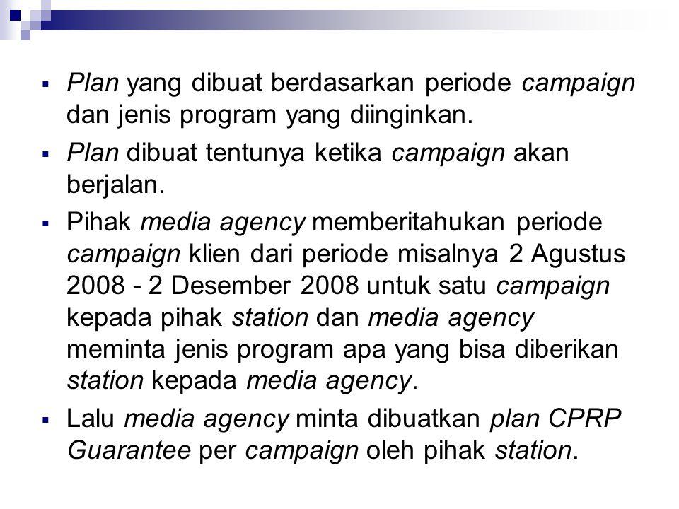  Plan yang dibuat berdasarkan periode campaign dan jenis program yang diinginkan.  Plan dibuat tentunya ketika campaign akan berjalan.  Pihak media
