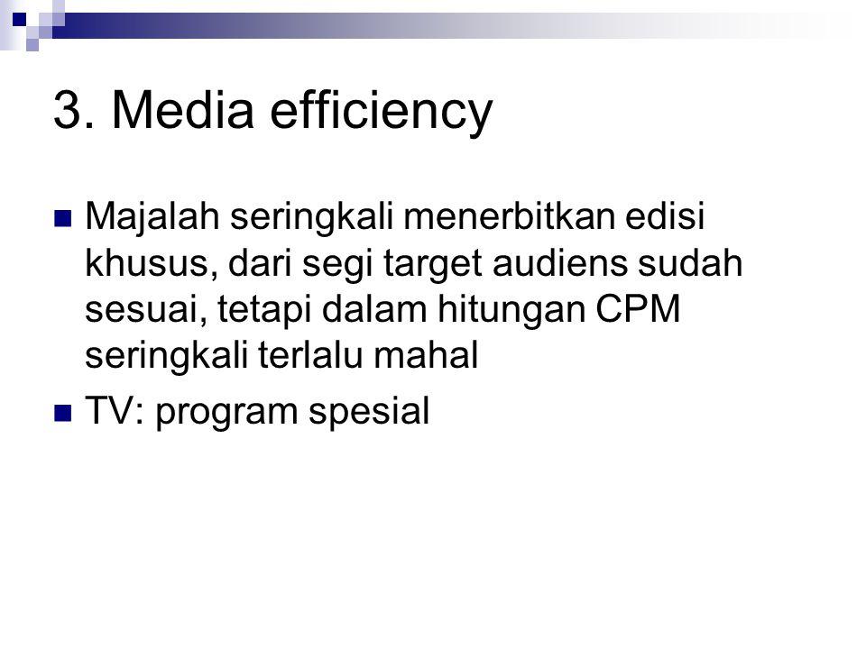 3. Media efficiency Majalah seringkali menerbitkan edisi khusus, dari segi target audiens sudah sesuai, tetapi dalam hitungan CPM seringkali terlalu m