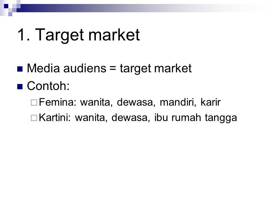1. Target market Media audiens = target market Contoh:  Femina: wanita, dewasa, mandiri, karir  Kartini: wanita, dewasa, ibu rumah tangga