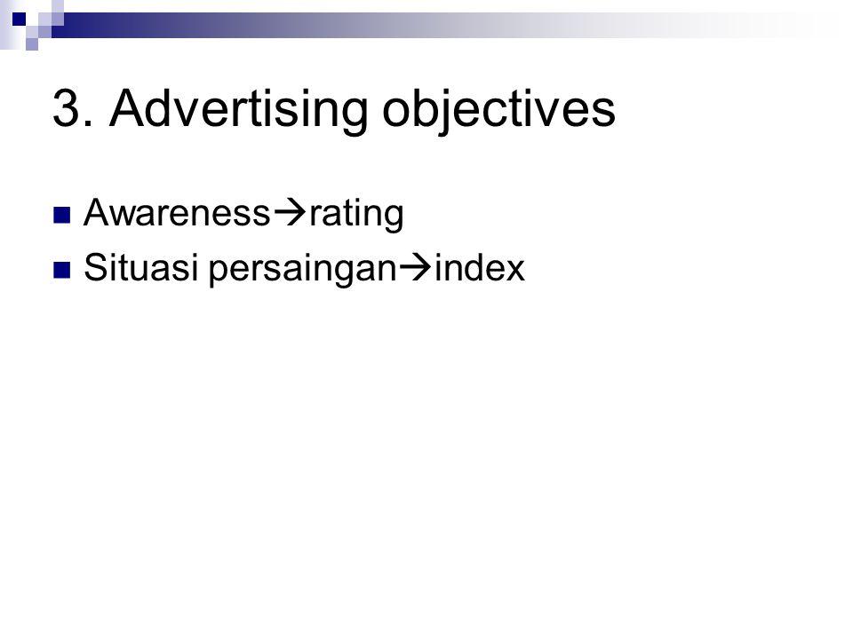 3. Advertising objectives Awareness  rating Situasi persaingan  index