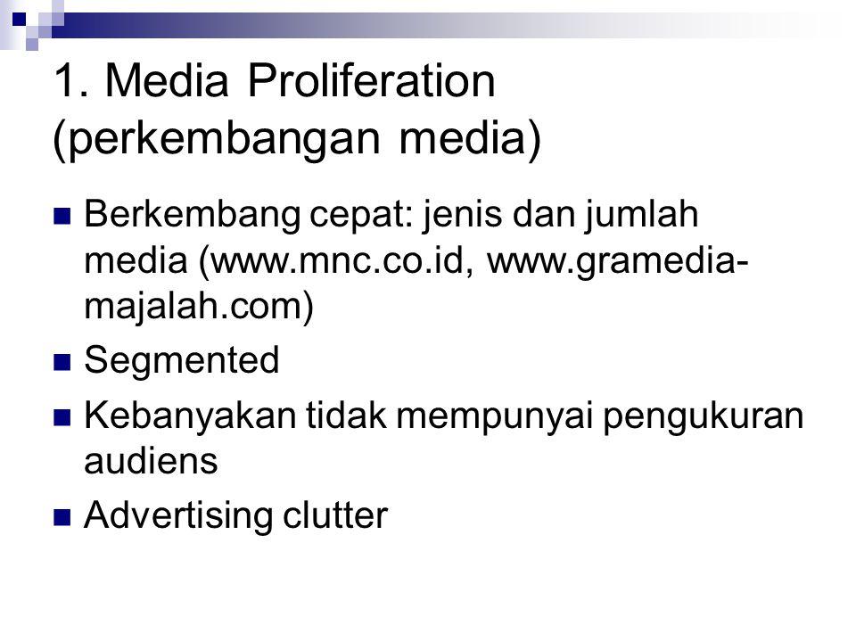 1. Media Proliferation (perkembangan media) Berkembang cepat: jenis dan jumlah media (www.mnc.co.id, www.gramedia- majalah.com) Segmented Kebanyakan t