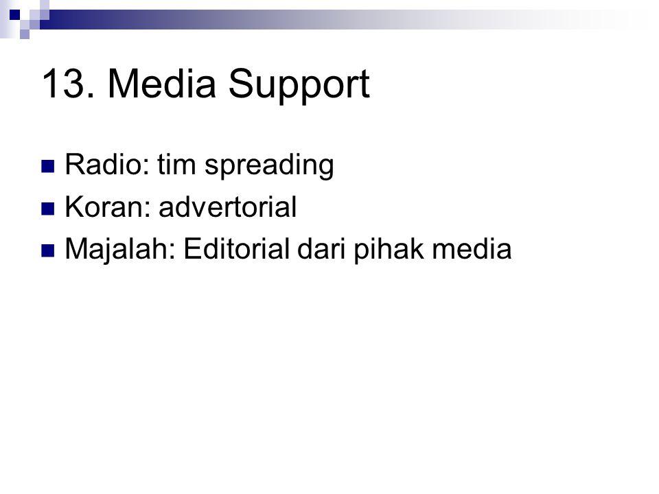 13. Media Support Radio: tim spreading Koran: advertorial Majalah: Editorial dari pihak media