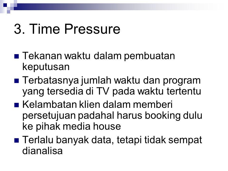 3. Time Pressure Tekanan waktu dalam pembuatan keputusan Terbatasnya jumlah waktu dan program yang tersedia di TV pada waktu tertentu Kelambatan klien