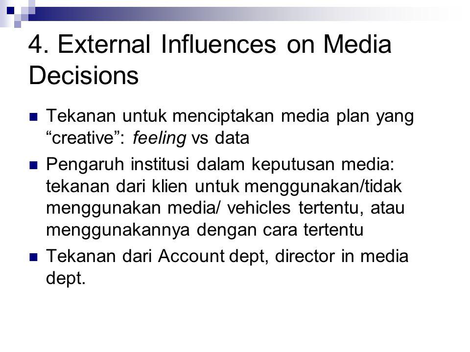 "4. External Influences on Media Decisions Tekanan untuk menciptakan media plan yang ""creative"": feeling vs data Pengaruh institusi dalam keputusan med"