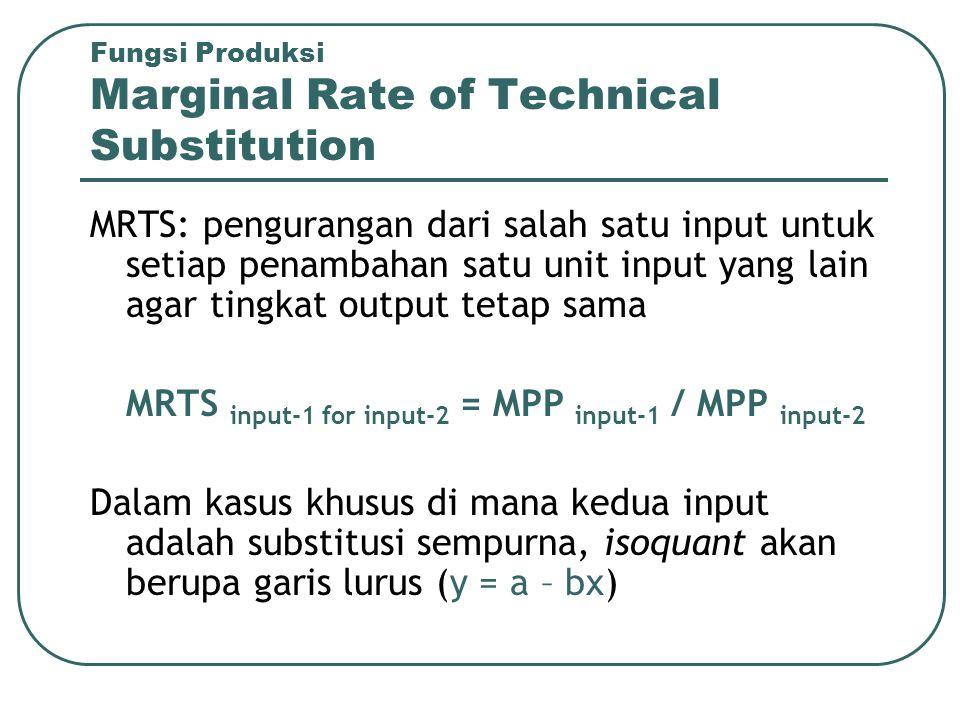 Fungsi Produksi Marginal Rate of Technical Substitution MRTS: pengurangan dari salah satu input untuk setiap penambahan satu unit input yang lain agar
