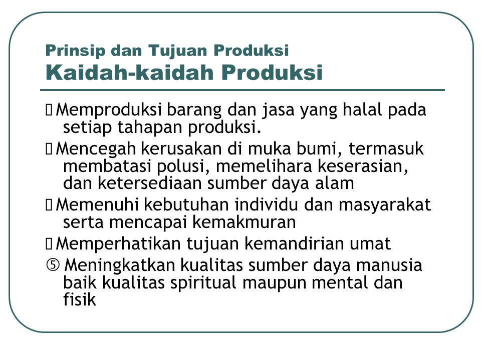 Prinsip dan Tujuan Produksi Kaidah-kaidah Produksi  Memproduksi barang dan jasa yang halal pada setiap tahapan produksi.  Mencegah kerusakan di muka