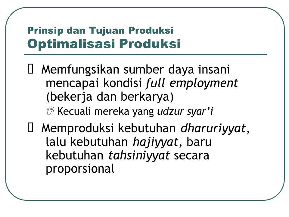 Prinsip dan Tujuan Produksi Optimalisasi Produksi  Memfungsikan sumber daya insani mencapai kondisi full employment (bekerja dan berkarya)  Kecuali