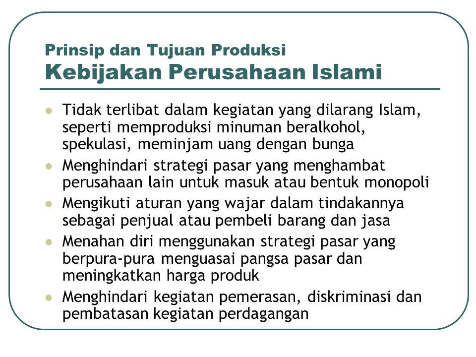Prinsip dan Tujuan Produksi Kebijakan Perusahaan Islami Tidak terlibat dalam kegiatan yang dilarang Islam, seperti memproduksi minuman beralkohol, spe