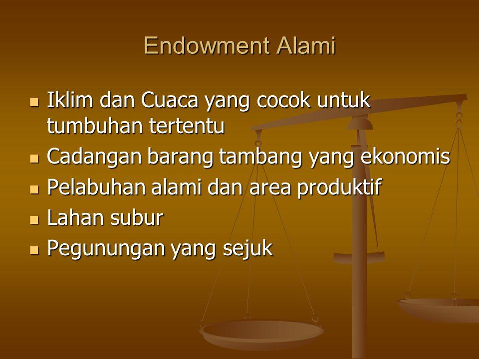 Endowment Alami Iklim dan Cuaca yang cocok untuk tumbuhan tertentu Iklim dan Cuaca yang cocok untuk tumbuhan tertentu Cadangan barang tambang yang eko